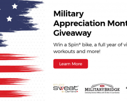 In Honor of Military Appreciation Month, MilitaryBridge partners with Studio SWEAT onDemand & Spinning®  for a Giveaway & Discount